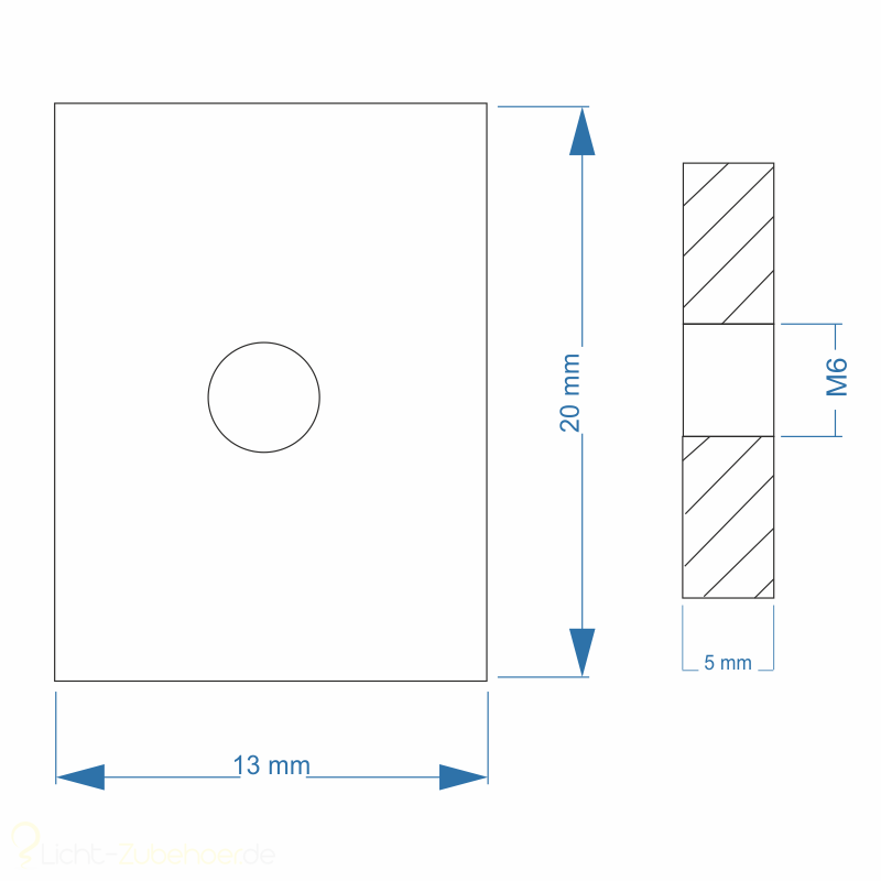 Nutenstein Gewindeplatte 20x13x5 Mm M8 Gewinde Mittig Stahl Galva
