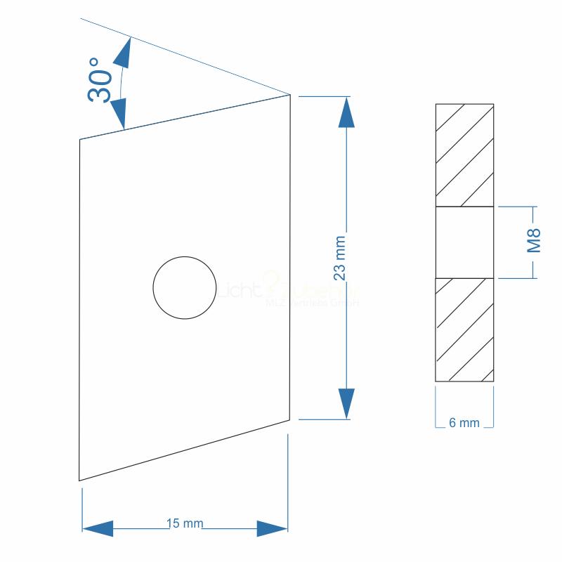 Nutenstein Gewindeplatte Rhombus 23x15x6 Mm M8 Gewinde Winkel 30