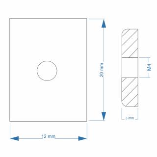 Nutenstein Gewindeplatte 20x12x3 Mm M4 Gewinde Mittig Messing Ver